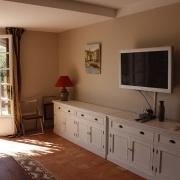 Vardagsrummet i gîte Olivier.