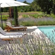 Från solstolarna runt poolen känner man doften av lavendel