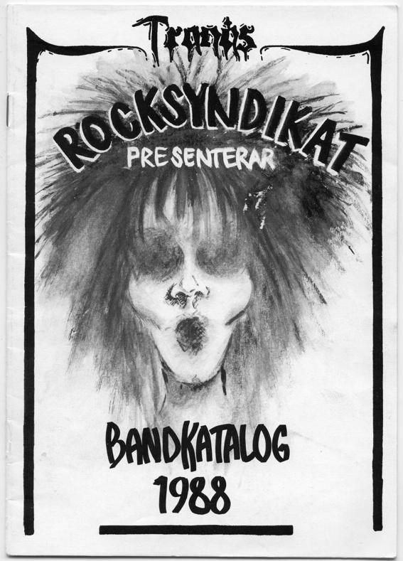 """Rocksyndikatets bandkatalog 1988. Omslag gjort av Berit """"Bibban"""" Aztor."""
