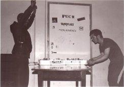 Replokal på Sobelhuset, 90-tal. Här repade: FUCT, Barflies, Disfornicate och Turkish Revenge.