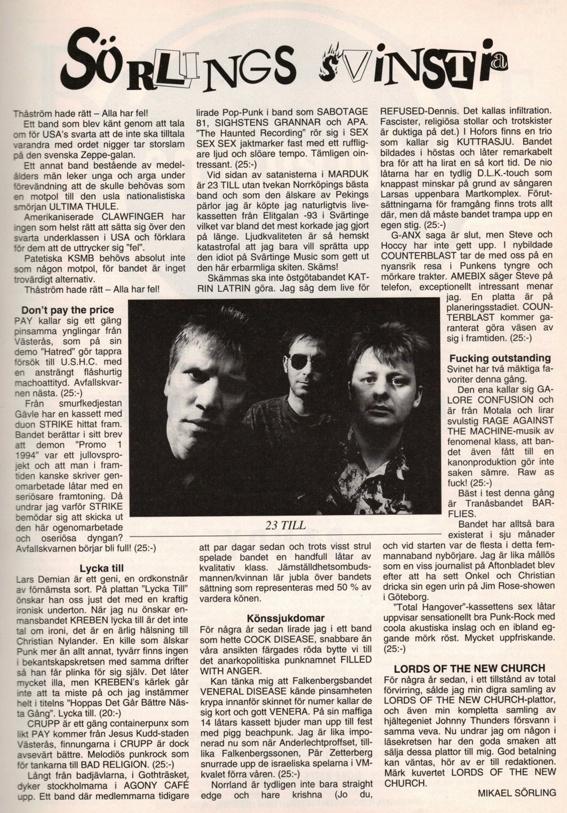 """Barflies """"Total Hangover"""" utses till numrets bästa demo av Sörling i Close-Up Mag. #10 (april 1994)"""