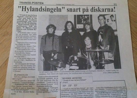 Tranås-Posten 10 feb. 1993, Steine (till höger) med kollegorna i Turkish Revenge, som ofta lirade tillsammans.