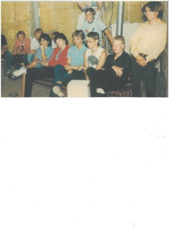 Publik i Gransbo. Från vänster - Niklas Silvander, Nicklas Rylander, Frank Bergsten och Anders Westin