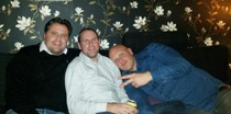 Jag tillsammans med Janne Nyvall och Joakim Lamotte på Jannes 40-års fest