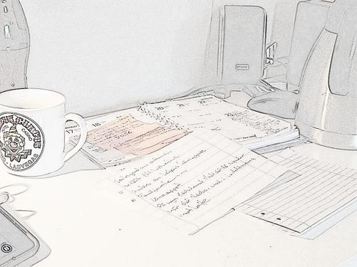 på ett skrivbord