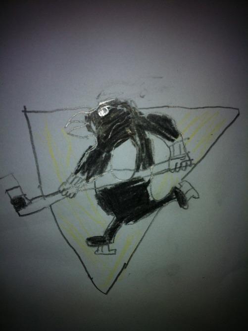 En av de första teckningarna min son gjorde efter det att han kom ut som Penguins-suporter