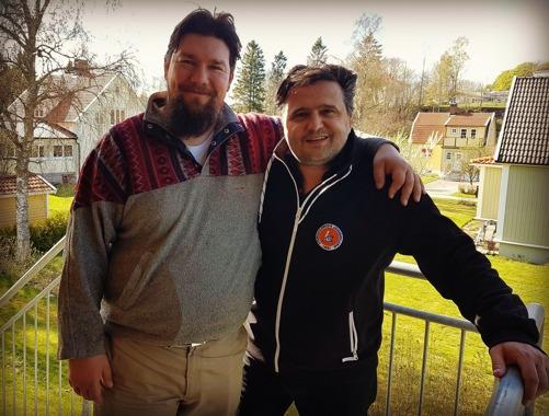 Mikael Girnus och jag, förra veckan när han kom och hälsade på.