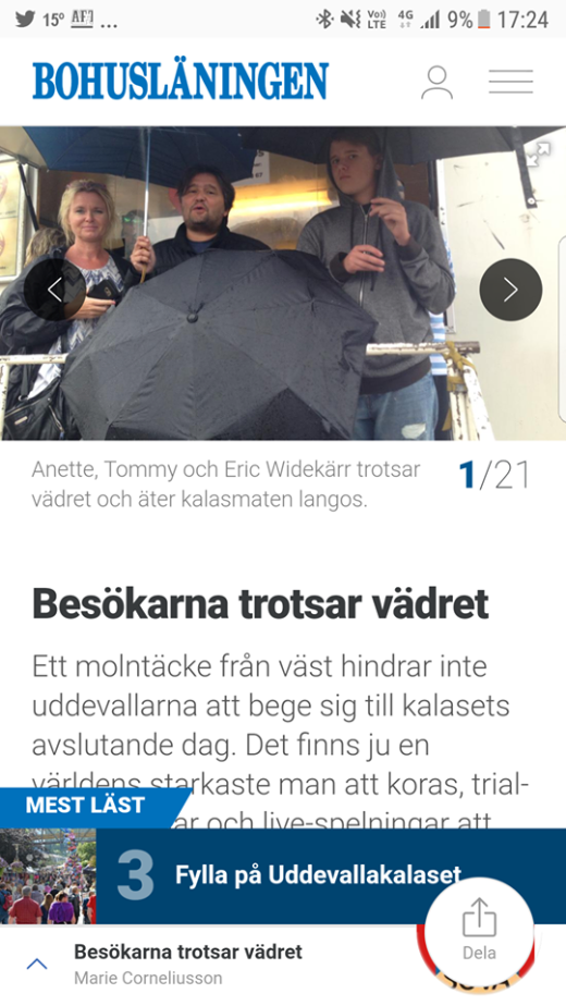 Från förra årets besök på Uddevallakalaset. Regnet regerade då.