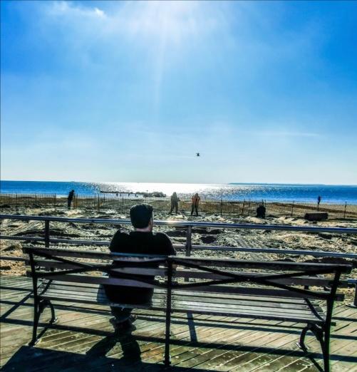 Coney Island och jag som tittar ut över Atlanten.