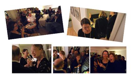 """I glada vänners lag firar hon utgivningen av sin debutroman """"Förbannelsen - en berättelse om Gud och Satan, trolltro och magi"""". 2014-12-21"""