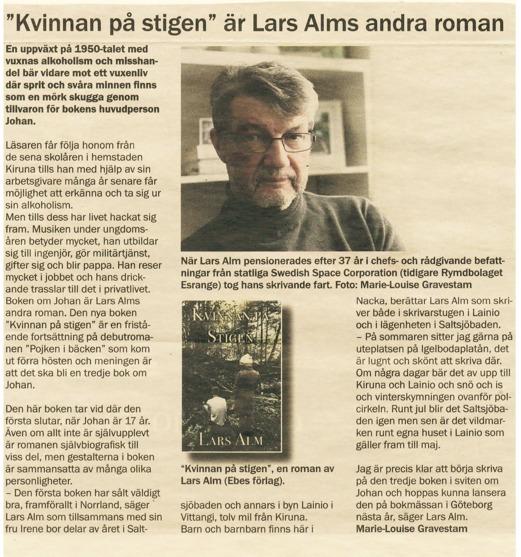 """Salsjöbladet intervjuar Lars Alm om  """"Kvinnan på stigen"""", Alms andra roman i serien om Johan."""