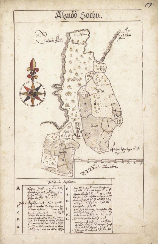 På den första kända kartan av Sättra från 1630 ses de två bosättningarna vid A öster om Byviken.