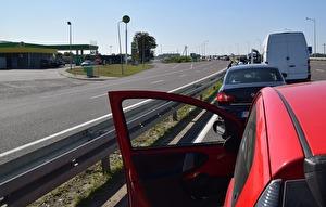 Gränsövergången vid Medyka, mellan Ukraina och Polen.