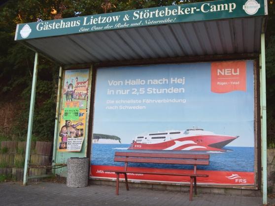 Reklam för den nya färjan på Rügen.