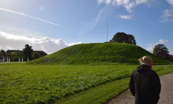 En av gravhögarna i Jellinge på Jylland. Kanske Gorm den gamles grav.