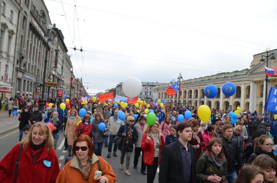 Första maj i St Petersburg 2014. Alla deltog.