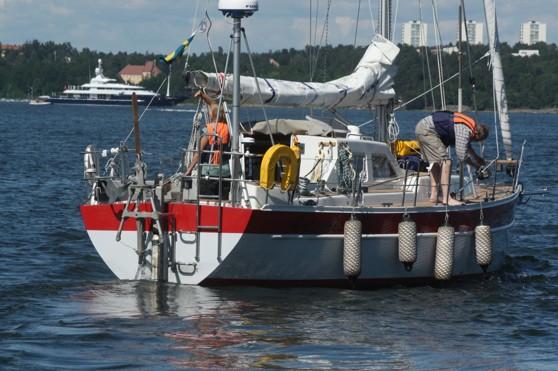 Milo Dahlmanns båt Artemisia II vid avseglingen från Stockholm.