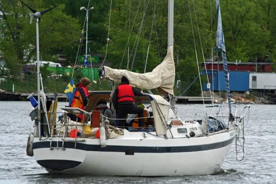 """Lindas båt """"Tordmulen"""" är en dubbelruffad finskbyggd Targa 96. Som Linda tagit t.o.r. till Kanarieöarna."""