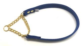 Halvstryp, valkband blå - Halvstryp, valkband 20 cm, kedjeöppn ca 8 cm, förnicklad