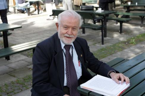 Professor Fred Singer, USA, räknas till en av världens främsta klimatforskare men av Nature stämplad som klimatförnekare.                        Foto:Ulf Lonäs