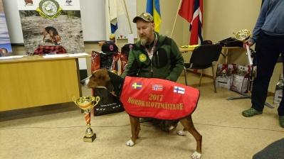 Segrande hund vid Nordkalottmästerskapet 2017 Målarns Jakthundar Blixten SE53656/2014 Michael Fredriksson