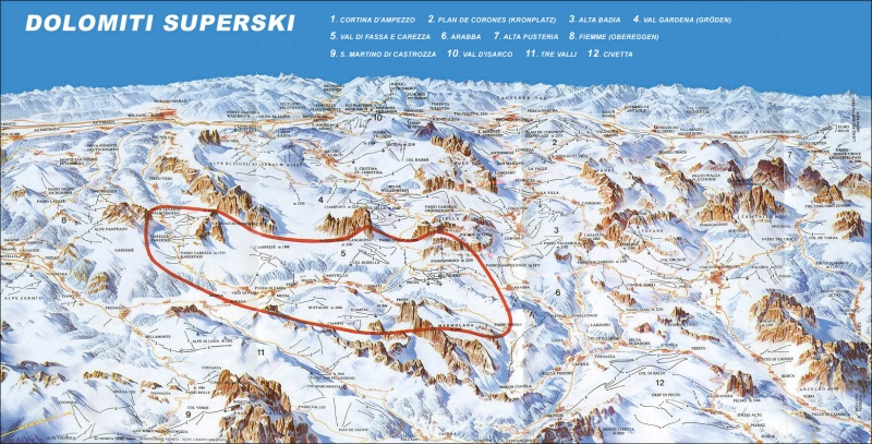 The huge area Dolomiti Superski's 12 areas. The red line is Sella Ronda.