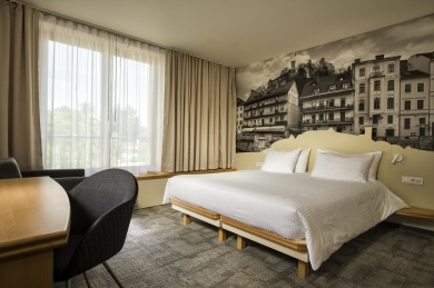 Del i delat dubbelrum ingår på City Hotel*** i Ljubljana med frukostbuffé, wifi och gratis lånecyklar.