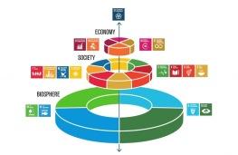 Globala målen uppdelade på ekonomisk, social och ekologisk utveckling. Som resenär har du många möjligheter att bidra till att vi uppnår en hållbar utveckling genom att välja hur du reser.