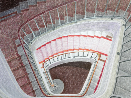Domingo stairs, 2014, colour pencil, 29x39cm