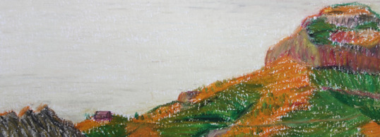 A man in a house, thinking of a mountain, 2015, oil pastell, 9x24 cm