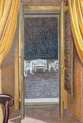 The terrace, 2014, colour pencil, 29x20cm