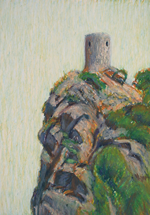 Watchtower, 2016, oil pastell, 30x21 cm