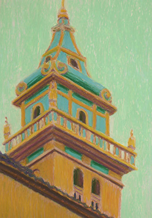 Churchtower, 2016, oil pastell, 30x21 cm