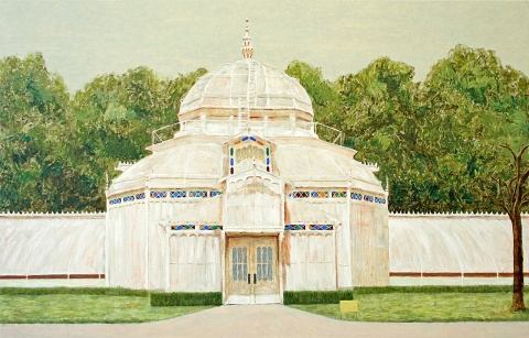 Glass house, 2010, oil on board, 78x122cm