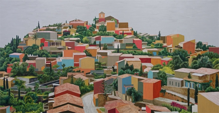 Tramuntana town, 2016-2018, oil on canvas, 83x160 cm