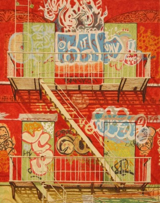 Fire escape, 2011, oil on canvas, 32x25cm