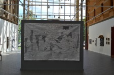 Gallok. Embroidery on tarp 3 x 2 meter. Abou a mining protest in nothern Sweden.