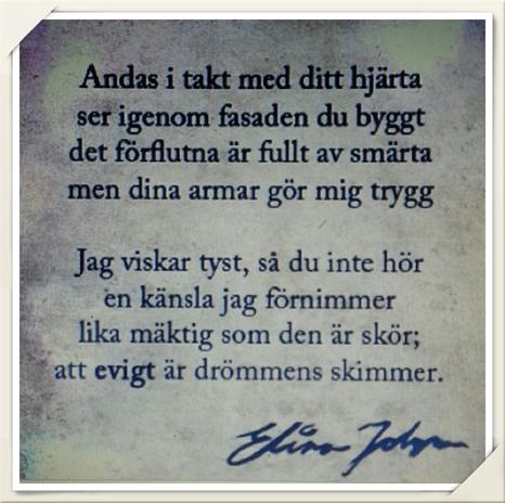 Månadens dikt är skriven av Elina Johanzon, @elinajonhanzon på Instagram. Grattis!