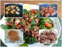 Blanda ihop salladen och kokta broccolin, pastan, baconet och laxen. Ha sedan på kikärtorna, dillen och några droppar citron ovanpå.