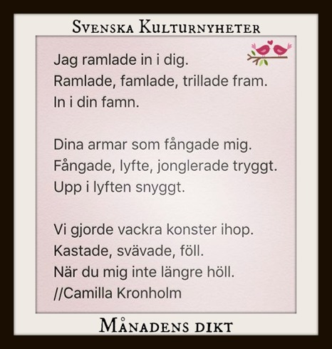 Månadens dikt har Camilla Kronholm @camilla_kronholm skrivit. Grattis! :) Klicka på bilden så kommer du till Camillas Instagram.