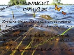 """Sommarens dikt 2016""  har utsetts på våran Facebook! :)"