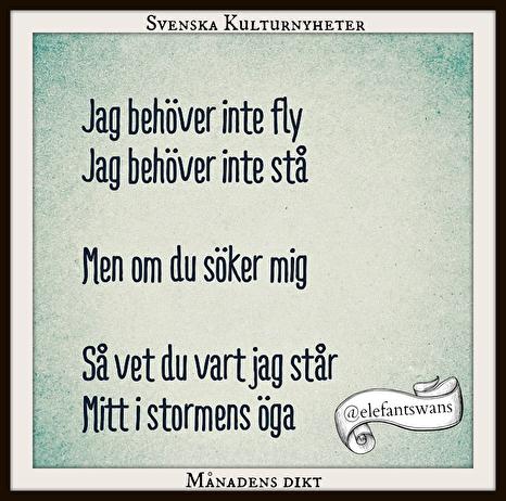 Månadens dikt har Mattias Gustafsson skrivit. Grattis! :)
