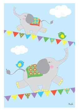 Elefanter på lina - Blå