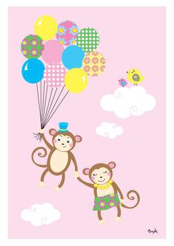 Apor med ballonger - Rosa
