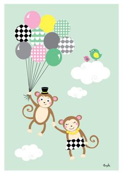 Apor med ballonger - Mint