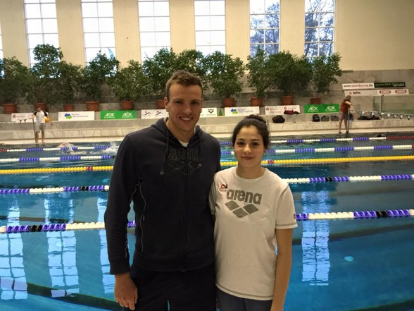 Paul Biedermann og Yusra Mardini. Facebook/Yusra Mardini Fan Page