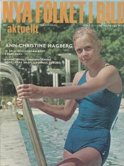 En av 60-talets stora simkändisar i Sverige Ann Christine Hagberg fanns på många tidningsomslag. Här på Ny Folket i Bild