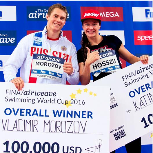 Morozov och Hosszu - segrare i World Cup 2016 (foto: FINA Instagram)
