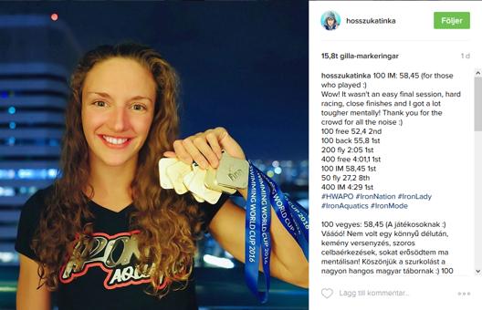 Så här är vi van att se henne nu - Katinka Hosszu. Näven full med medaljer från World Cup. Den här helgen blev det 11 guldmedaljer från deltävlingen i i Singapore och hon leder tävlingen överlägset.