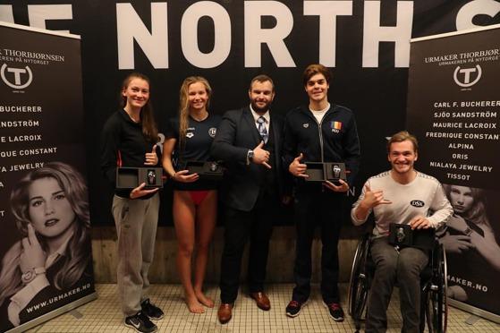 BESTEMANNSPREMIER: Nina Kost, Marte Løvberg, Robert Glinta og Andreas Bjørnstad. FOTO: North Sea Swim Meet.